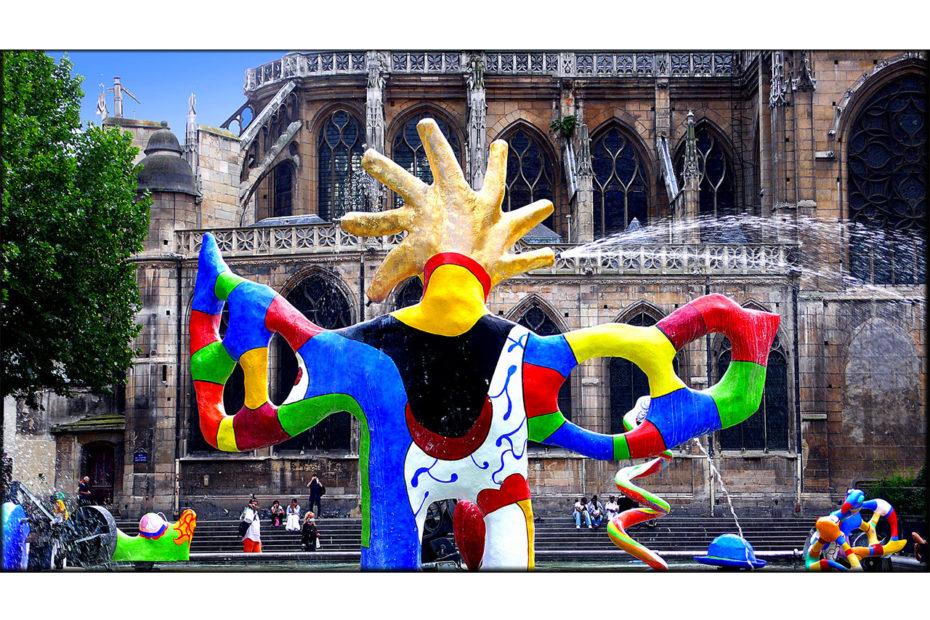 Sculptures de Niki de Saint Phalle de la fontaine Stravinsky