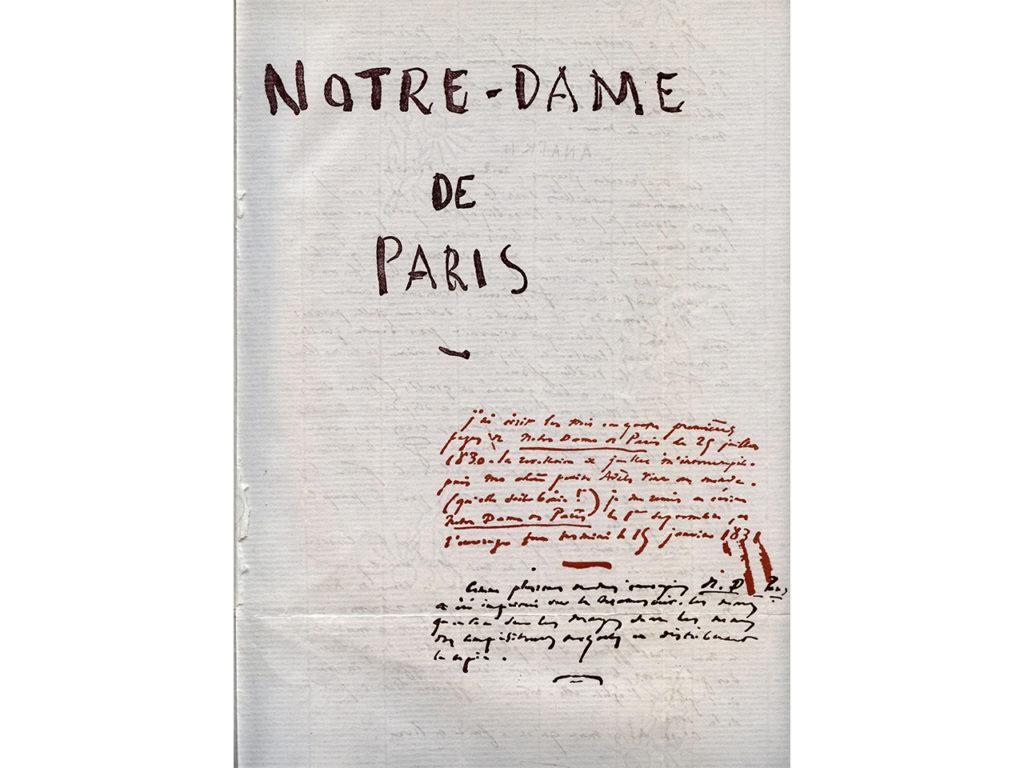 Roman manuscrit Notre-Dame de Paris de Victor Hugo