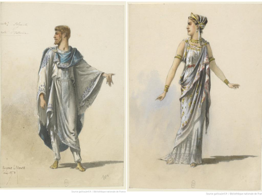 Dessins maquette de costume de Pierre Eugène Lacoste