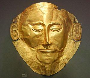 Photographie du masque d'Agamemnon