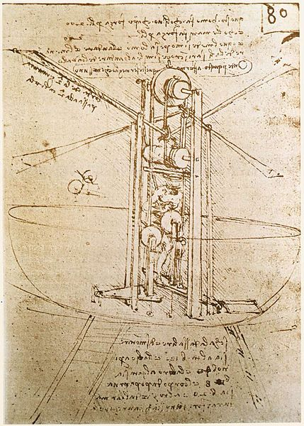 Léonard de Vinci, shéma de machine volante