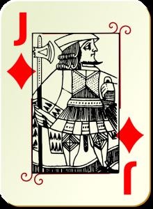 Carte de valet de carreau avec un J