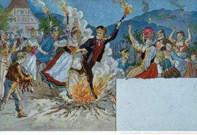 Carte postale de la fête de la Saint-Jean en Alsace