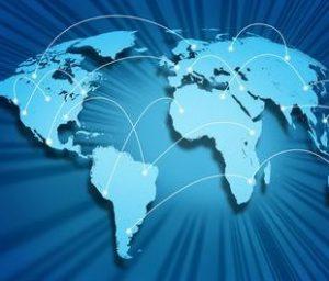 image vectorielle du monde avec des flèches