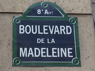 Plaque de rue du boulevard de la Madeleine