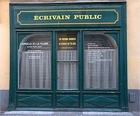 devanture de boutique d'écrivain public
