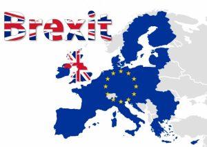 carte de l'Europe avec le terme Brexit aux couleurs du drapeau britannique