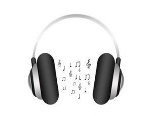 dessin d'un casque avec des notes entre les oreilles