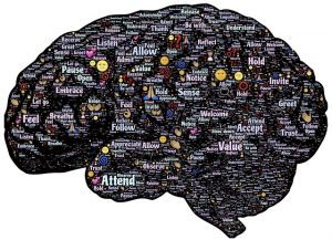 dessin de cerveau couvert de mots