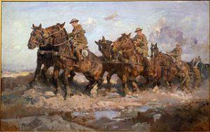 Tableau de 1917 représentant des chevaux de guerre