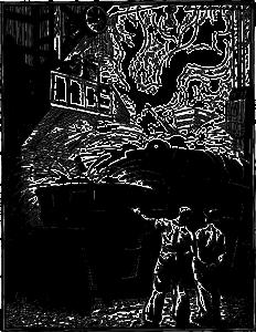 gravure ancienne représentant une fonderie