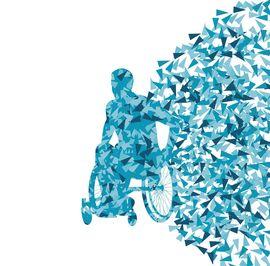 dessin representant une silhouette d'homme en fauteuil roulant