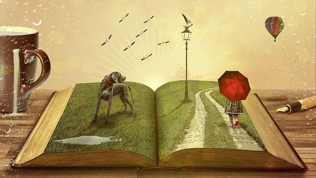 illustration livre ouvert paysage avec chien enfant au parapluie rouge