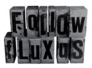 Logo : Folow Fluxus en lettres de casse