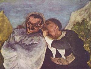tableau de Daumier, un personnage parlant à l'oreille de l'autre