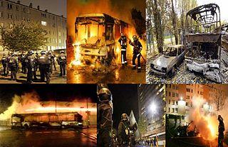 mosaïque de photographies de scènes d'émeutes