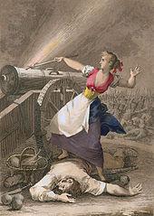 gravure représentant Agustina d'Aragon