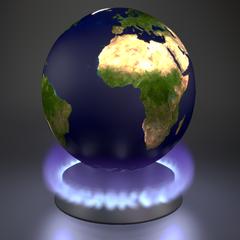 un globe terrestre sur un feu de cuisinière