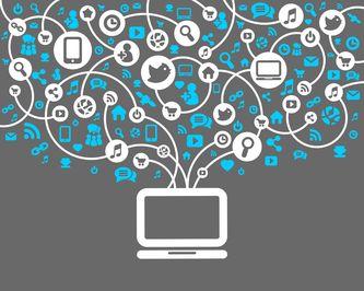 pictogramme représentant un écran surmonté de bulles sur le thème communication