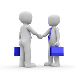 dessin de deux personnages avec attachés case se serrant la main