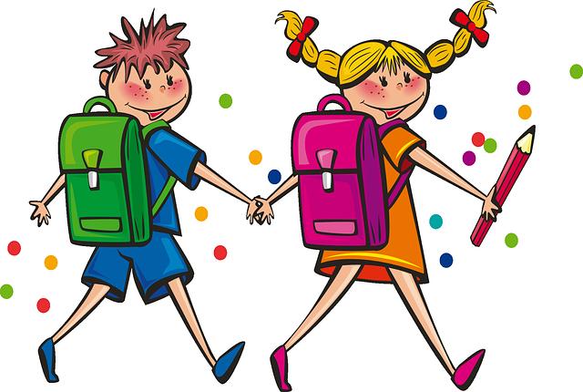 dessin d'une écoliere et d'un écolier