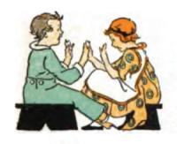 Dessins : deux enfants jouant à un jeu de mains