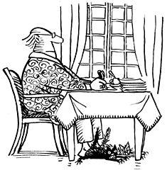 dessin en noir et blanc d'un écrivain à sa table de travail