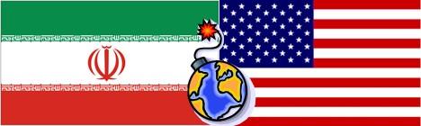 drapeaux iranien et américain
