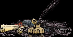 dessin représentant une bouteille d'encre et plume et des livres