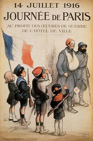 Affiche du 14 juillet 1916 par Francisque Poulbot