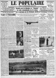 La une du Poupulaire du 11 janvier 1934