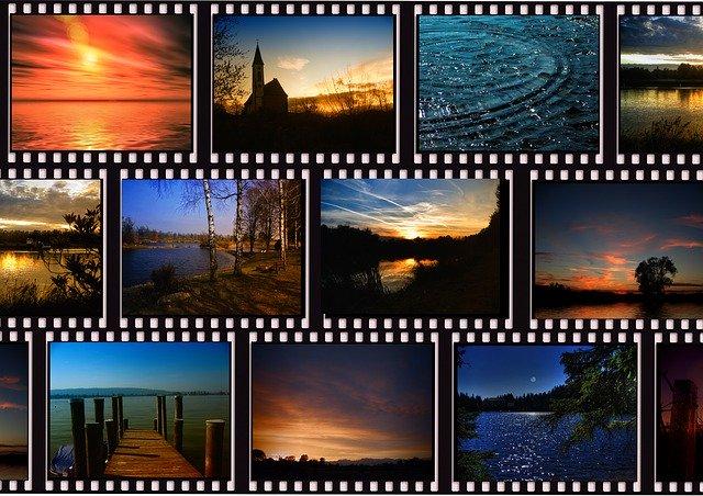 série de pellicules de cinéma qui représentent différents paysages