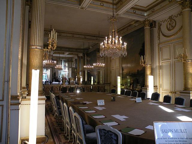 Photo du Salon Murat au Palais de l'Elysée où a lieu le Conseil des ministres