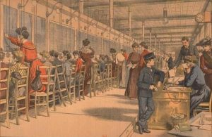 Bureau téléphonique parisien en 1900, gravure du Petit Journal