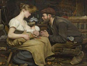 Tableau de Jean-Eugène Buland, 1903 représentant un couple tenant un bébé