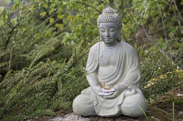 Photographie de Bouddha assis dans la verdure