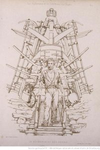Le bûcheron et ses outils, gravure de Théophile Schuler