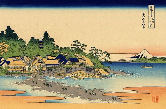 estampe japonaise représentant un village au bord de l'eau