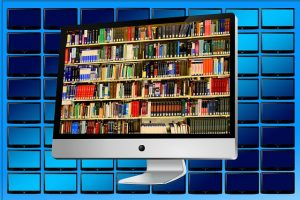 image numérique d'un ordinateur affichant une bibliothèque sur l'écran