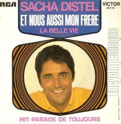 pochette illustrée du disque Et nous aussi mon frère de Sacha Distel par Jean-Claude Trambouze
