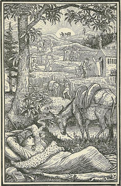 Frontispice gravé de Voyage avec un âne dans les Cévennes Walter Crane