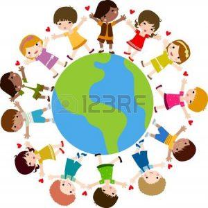 dessin d'une ronde d'enfants autour du globe