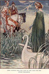 Le roi Arthur demande l'épée Excalibur à la Dame du Lac.(Gravure)