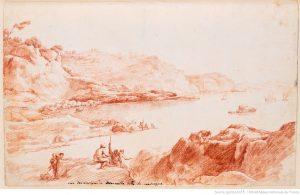 Vue des environs de Marseille dite la Madrague, dessin 18e