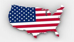 drapeau américain découpé en forme des Etats-unis