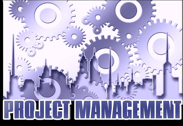 image virtuelle de rouages avec les mots : project management