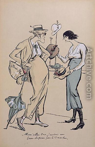"""Caricature de Chanel, """"Le grand monde à l'envers"""" / Georges Goursat (Sem), 1919"""