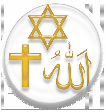 symboles religieux du Christianisme, de l'Islam et du Judaisme