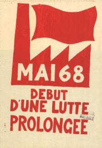 Affiche de mai 68, un symbole d'usine avec la phrase Début d'une lutte prolongée