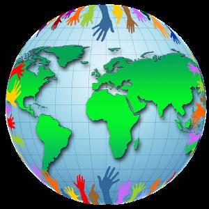 image d'un globe terrestre avec des mains